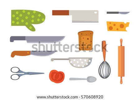 Vector Set Kitchen Utensils. Cooking Tools Flat Style. Cook Equipment  Isolated Objects Great Ideas