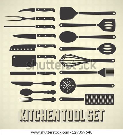 Vector Set: Kitchen Utensils Set - stock vector