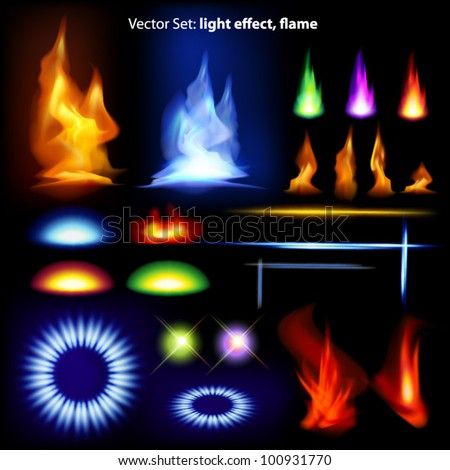 Vector set: light effect, flame - lots of  graphic elements to embellish your layout - stock vector