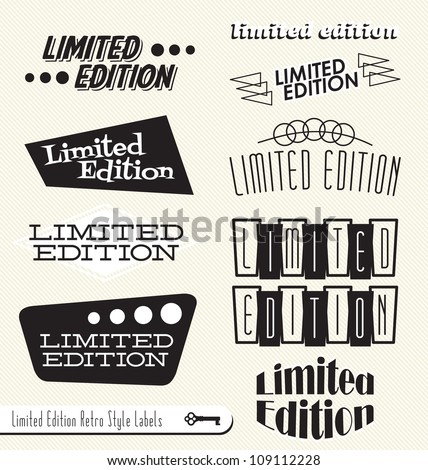 Vector Set: Limited Edition Vintage Retro Style Labels and Headers to use as Element in Your Design - stock vector