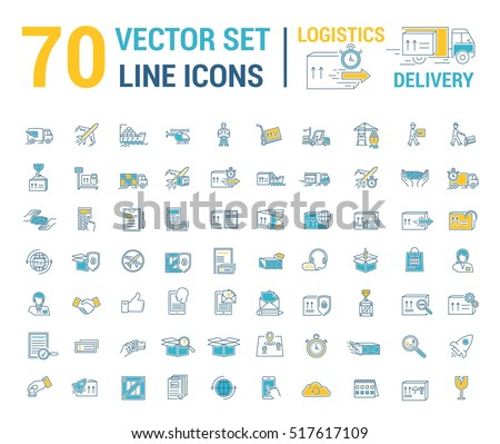 Vector Set Logo Icon Delivery Logistics Stock Vector 517617109 ...