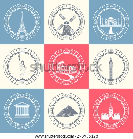 Vector set logos and badges of travel. Collection of symbols and signs of travel, countries and cities. - stock vector