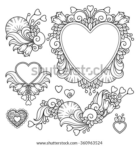 Vector set love valentines day abstract elements in doodle style. Floral, nature, ornate, decorative, heart compositions. Black and white monochrome background. Zentangle hand drawn coloring book page - stock vector