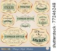 Vector set: Luxury golden vintage stickers or label in calligraphic style for decoration and design - stock vector