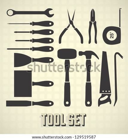 Vector Set: Mechanical Tool Silhouette Collection