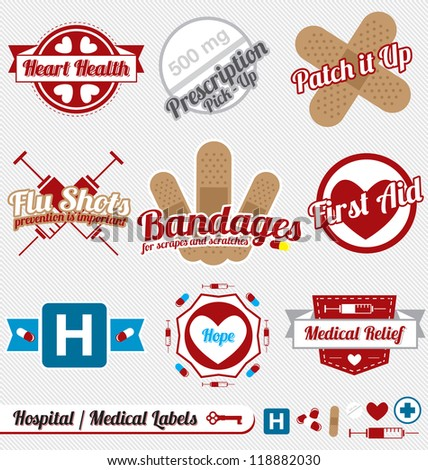 Vector Set: Medical and Hospital Labels and Icons - stock vector