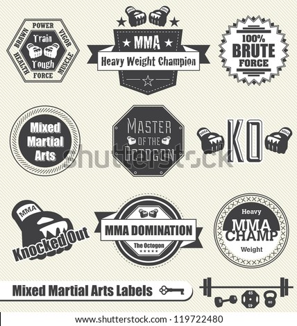 Vector Set: Mixed Martial Arts Labels and Icons