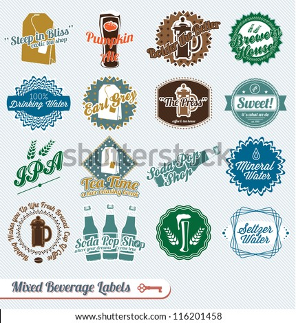 Vector Set: Mixed Types of Beverages Labels and Icons - stock vector