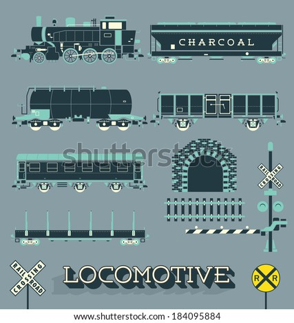 Vector Set: Model Train Collection  - stock vector