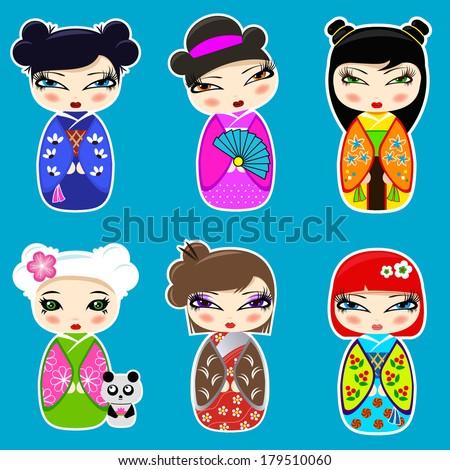 Vector set N 3 of cute kokeshi dolls  - stock vector