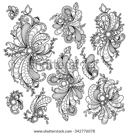 Vector set nature abstract elements in doodle style. Floral, nature, ornate, decorative, tribal compositions. Black and white monochrome background. Zentangle hand drawn coloring book page - stock vector