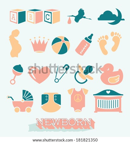 Vector Set: Newborn and Baby Icons and Symbols - stock vector