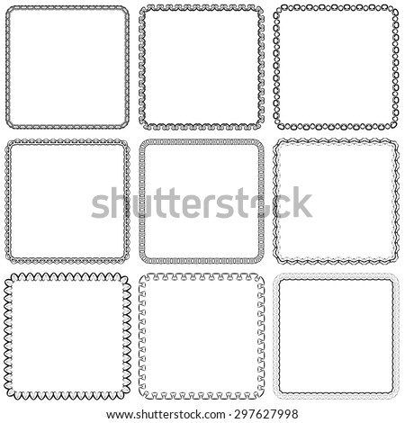 Vector set. Nine square ornamental frames. Black on a white background - stock vector