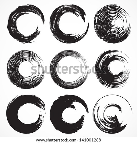 Vector set No5 of grunge circle brush strokes for frames, icons, design elements - stock vector
