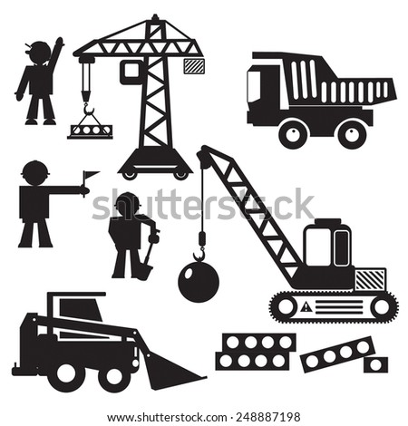 Vector set objects or illustration  of construction machines on building. Black stylized silhouettes of equipment, workers on a white background. - stock vector