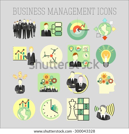 Vector set of a business and management icons. Business strategy management and human resources. - stock vector