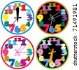 vector set of a colorful clocks - stock vector