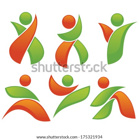 vector set of abstract, active people - stock vector