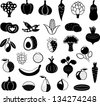 vector set of abstract black-and-white vegetables, fruits and berries - stock vector