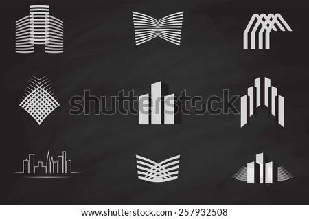Vector set of abstract construction & technology logo - stock vector