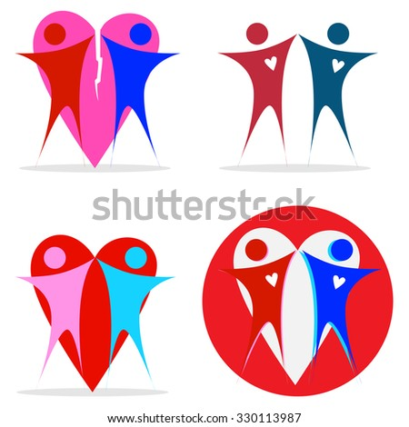 Vector set of abstract couple relationship icons on white background.