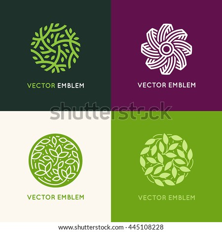 Vector set of abstract green logo design templates - emblems for holistic medicine centers, yoga classes, natural and organic food products and packaging - circles made with leaves and flowers - stock vector