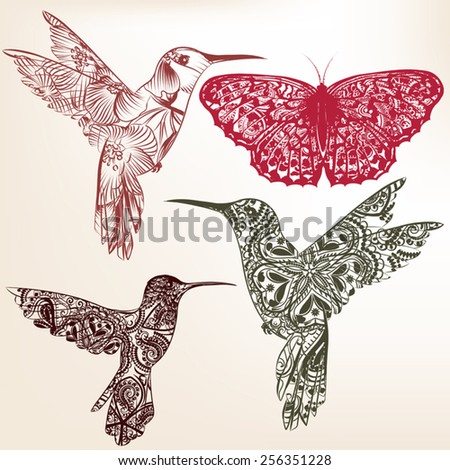 Vector set of abstract hand drawn birds for design - stock vector