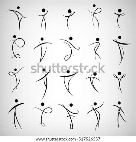 Vector set of Abstract Human Symbols, men logos. Success, Achievement, Sport, Activity Isolated On Gray Background. Illustration, Graphic Design Editable For Your Design.