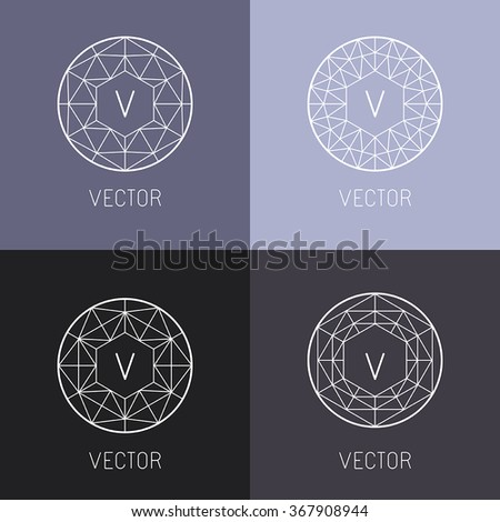 Vector set of abstract jewelry logo design templates and monogram templates in trendy linear style - diamonds and gems - stock vector