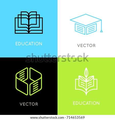 Vector Set Abstract Logo Design Templates Stock Vector 714653569 ...