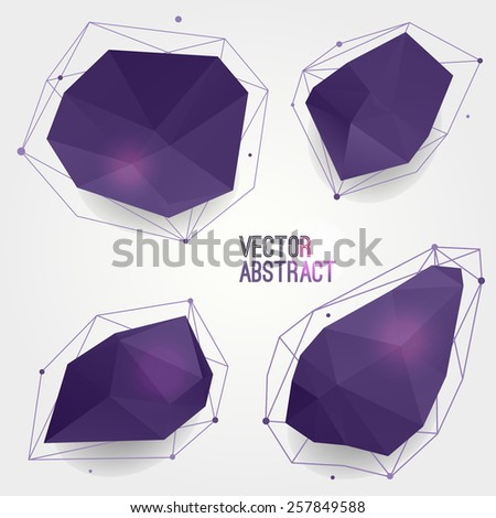 Vector set of abstract modern crystal shapes with lines and circles. Can be used as labels, bubbles for website, infographic, banner. - stock vector