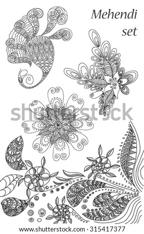 vector set of  abstract pattern of a tattoo henna
