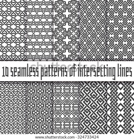 Vector set of abstract seamless patterns. Ten swatches of black lines on white backgrounds. - stock vector