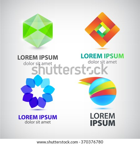 Vector set of abstract shapes, abstract logos, icons isolated. Colorful logo, identity for company, web logo. 3d geometric logo, rhombus logo, flower logo