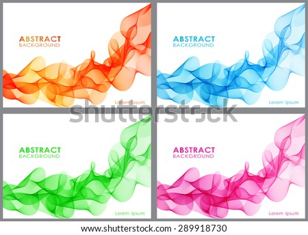 Vector Set of abstract wavy lines for design brochure and site. Color Smoke Wave.