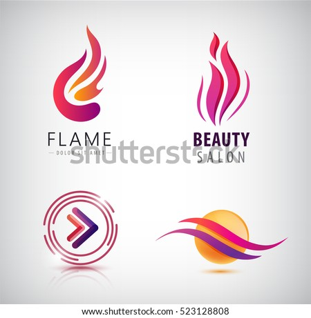 Vector set of abstract wavy logos, arrow, flame icon, sphere. Creative ideas for company identity