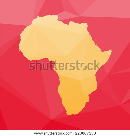 Vector set of africa icon in low poly style. Map of Africa. - stock vector