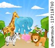 Vector Set of African Cartoon Animals - stock photo
