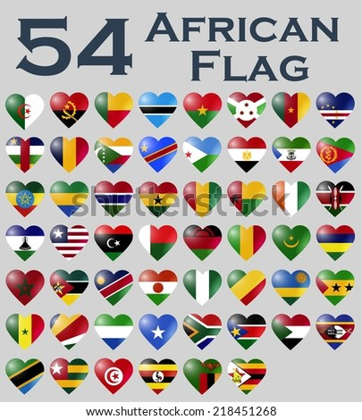 Vector set of African flags in heart shape.