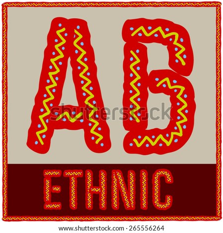 Vector set of african font with ethnic pattern. Letters A B - stock vector