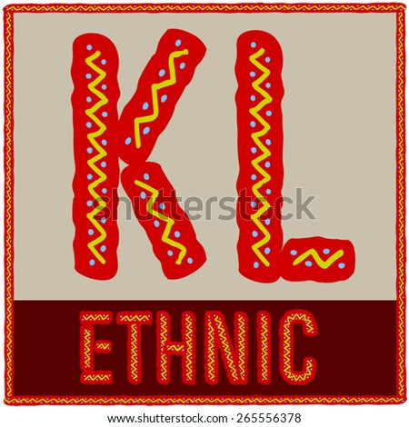 Vector set of african font with ethnic pattern. Letters K L - stock vector