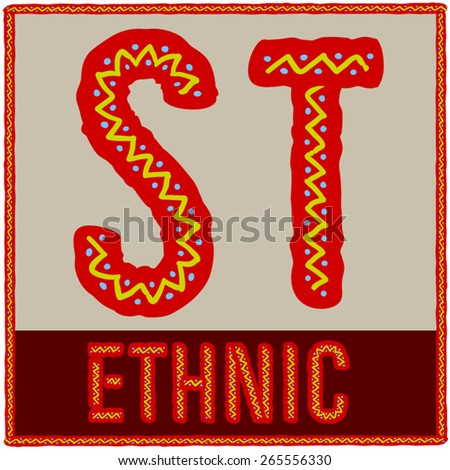 Vector set of african font with ethnic pattern. Letters S T - stock vector
