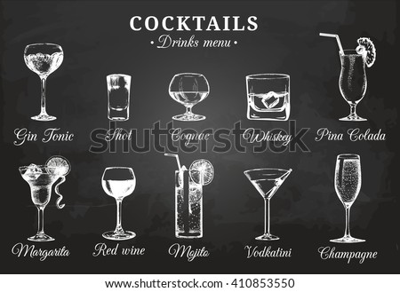 Vector set of alcoholic drinks and cocktails. Cocktails and drinks menu. Hand sketched alcoholic beverages glasses. Cocktails  and drinks illustrations set. Hand drawn bar cocktails and drinks. - stock vector