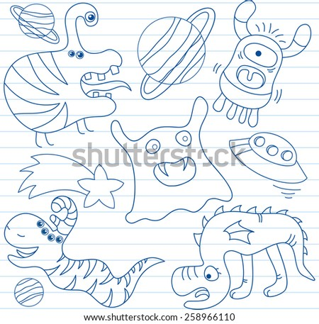 Vector set of aliens and monsters. Sketch on notebook page - stock vector