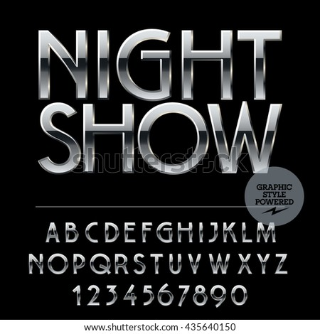 Vector set of alphabet letters, numbers and punctuation symbols. Silver logo with text Night show - stock vector