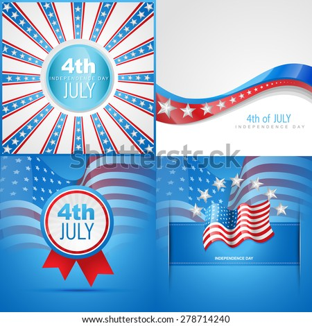 vector set of american flag abstract background  with badge , wave and flag - stock vector