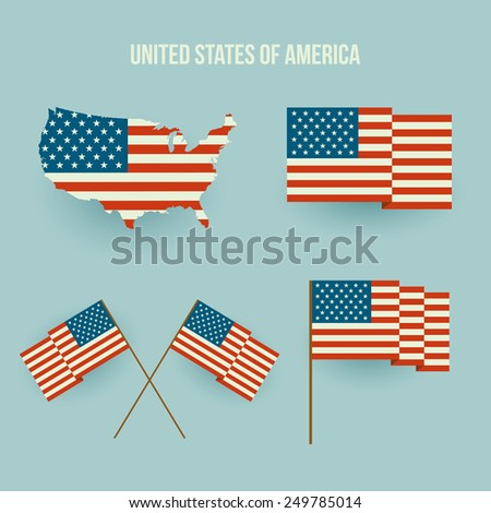 Vector Set of american flag and map. Flat design - stock vector