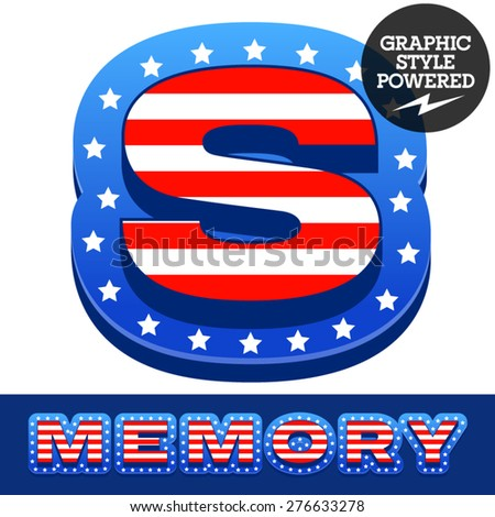 Vector set of american flag stripes and stars alphabet. Letter S