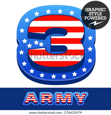 Vector set of american flag stripes and stars alphabet. Number 3