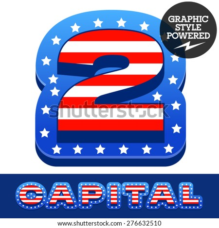 Vector set of american flag stripes and stars alphabet. Number 2